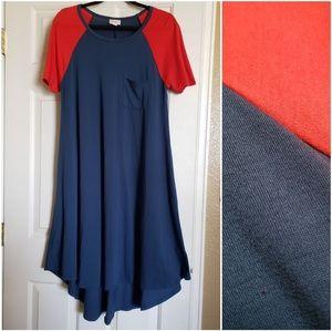 LuLaRoe Dresses - Lularoe Carly Blue with Red Sleeves